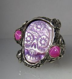 Purple/Pink Day of Dead Custom Skull Ring Memento Mori by RXVrings, $500.00