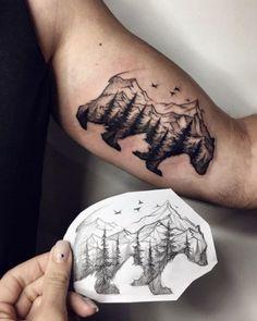 Stunning landscape bear tattoo by Sasha Kiseleva