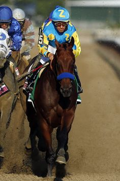 American Pharoah (5) leads the rest of the field down the back stretch on the way to a Triple Crown victory during the 147th running of the Belmont Stakes horse race at Belmont Park, Saturday, June 6, 2015, in Elmont, N.Y. (AP Photo/Jason DeCrow) JASON DECROW — AP