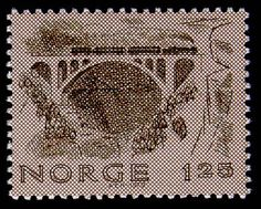 Norway, stamp of train with steam locomotive