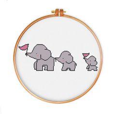 3 Elephants cross stitch pattern cute cross stitch by ThuHaDesign