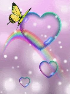 beautiful animated gif hearts | Butterfly,Rainbow And Hearts,Animated - Butterflies Fan Art (10309296 ...