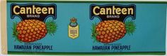 CANTEEN Vintage San Jose Pineapple Can Label
