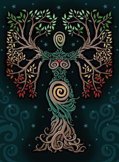 ideas tattoo tree of life albero della vita for 2019 Pagan Art, Goddess Art, Earth Goddess, Illustration, Celtic Art, Nature Paintings, Book Of Shadows, Tree Art, Fantasy Art