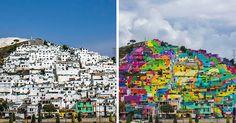 """Un grupo de jóvenes conocido como """"Colectivo Germen"""" echo a andar el proyecto de pintar un mural en 209 casas en la colonia Palmitas en Pachuca, hidalgo México."""