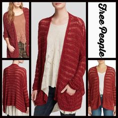 "FREE PEOPLE Cardigan Oversized Boyfriend  Cardi FREE PEOPLE Long Cardigan Ribbed Oversized Boyfriend Cardi RETAIL PRICE: $118 NEW WITH TAGS   * Oversized boyfriend Silhouette; About 32"" long.  * Allover striped marl, lightweight knit textured fabric; Super soft  * 2 front pockets  * A slouchy style & open front  * Long dolman sleeves w/ribbed cuffs  Fabric: Cotton & Rayon, Linen, & Nylon Color: Sunset (red-orange) 26900  No Trades ✅ Offers Considered*✅ *Please use the blue 'offer' button to…"