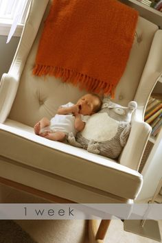 Nursery- chair! I like this idea. Using the chair as the baby grows. Shows the size difference really well.