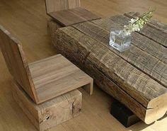 Arte y Arquitectura: Madera reciclada, bancos, mesas y cabeceros