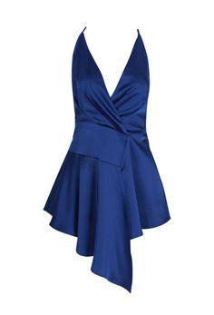'Teige' Draped Satin Dress - Navy