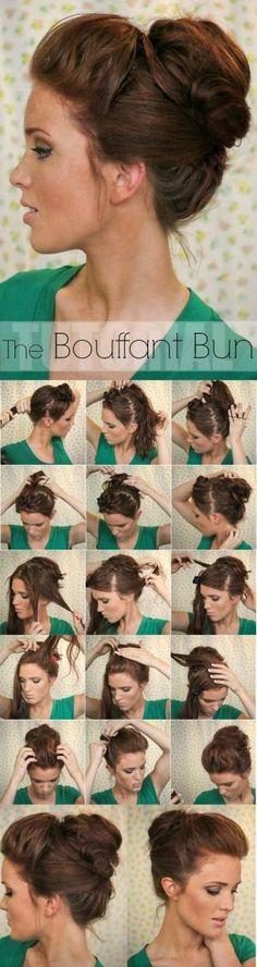 Super Easy Updo Hairstyles Tutorials: Bouffant Bun to use on a bad hair day Updo Hairstyles Tutorials, Easy Bun Hairstyles, Pretty Hairstyles, Wedding Hairstyles, Hair Tutorials, Hairstyle Ideas, Summer Hairstyles, Latest Hairstyles, Medium Hairstyles