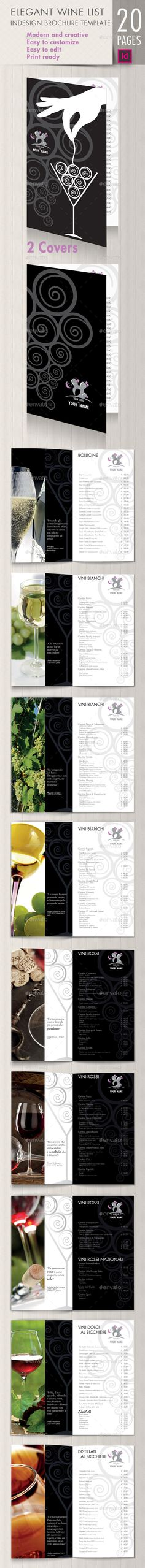 Elegant wine list brochure — InDesign INDD #bottle #menu design • Available here → https://graphicriver.net/item/elegant-wine-list-brochure/9595521?ref=pxcr