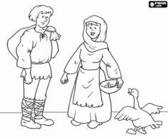 Colorear Pareja de campesinos medievales