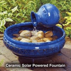 Blue Ceramic Cairo Solar Fountain