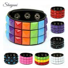 2016 Fashion Punk Style Multicolor Square Peg PU Leather Bracelet Wristband Cuff Bangle Leather Bracelet Gift Women Girl Jewelry
