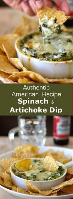 Spinach and artichoke dip has been a classic American appetizer since the - Essen - American Appetizers, Dips, Good Food, Yummy Food, Healthy Food, International Recipes, Vegan, Appetizer Recipes, Dinner Recipes