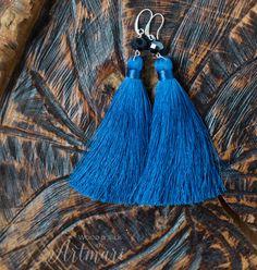 long Tassel Earrings Jeans Blue Silk with Crystal Beads Fashion Fringe Earrings Long Tassel Gift fo Long Tassel Earrings, Fringe Earrings, Beaded Earrings, Tassel Necklace, Diy Tassel, Tassels, Thread Jewellery, Silk Thread, Birthday Gifts For Her