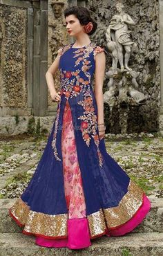 Regal pattern of rajasthani lehenga and long blouse that is fashioned by new designs in gown style dulhan lancha dress to get the ritzy appearance on wedding day. Lehenga Suit, Lehenga Gown, Lehenga Style, Pink Lehenga, Anarkali Dress, Anarkali Suits, Gown Dress, Choli Designs, Blouse Designs