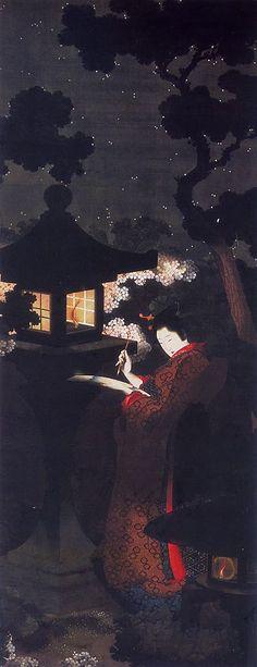 Un padre e una figlia pittori. Katsushika Ôi, Ragazza che compone un poema sotto i ciliegi in fiore nella notte, Menard Art Museum, metà del XIX secolo