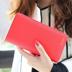 2017 Hot Fashion 7 Colors PU Leather Long Wallets Women Brand Solid Clutch Portable Casual Lady Cash Purse Card Holder Gift