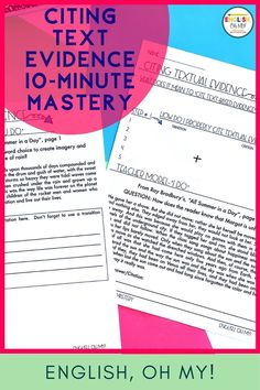 Properly citing text-based evidence can be a challenge for middle school ELA students, and even high school ELA students. These Citing Textual Evidence Activities and Mini Lesson, will help your students learn how to properly cite text with the correct formatting and punctuation.  Middle School English Language Arts  Citing Evidence Middle School   Text-Based Evidence Activities