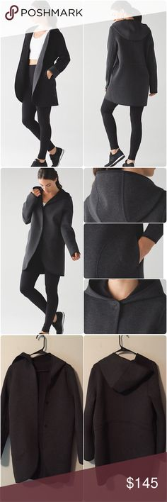 Lululemon City Bound Wrap Lululemon City Bound Wrap, size small, heathered black/gray (reversible). This is still in stores & is sold out in size small. Perfect condition, worn once. Spacer fabric is the future of post sweat layering. The double bonded fabric has an inside layer that wicks sweat &outside layer that protects you from the elements. The reversible, multi wear wrap will keep you cozy &warm. Designed for To &From. Cinchable drawcords, hooded, media pockets, interior cord exit…