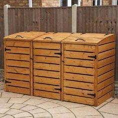 creative ideas for hiding the wheelie bins Garbage Can Shed, Garbage Can Storage, Garbage Recycling, Recycling Storage, Shed Storage, Storage Bins, Bin Storage Ideas Wheelie, Triple Wheelie Bin Storage, Hide Trash Cans
