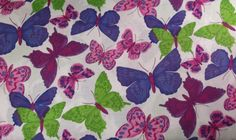 100% Cotton Quilting 1 Yard BTY Hydrangea Butterfly Quilt Fabric Spring