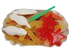 """Pommes rot-weiss, Fruchtgummi Pommes mit roten Seesternen (""""Ketchup"""") und weißen Mäusen (""""Mayo"""")."""