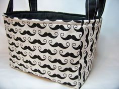 PK Fabric Basket in Geekly Chic  Mustache in Cream  by PKStuff, $14.50