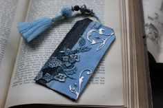 """Handmade bookmark, blue/grey/silver, ornamental bookmark, flowery lace, textile bookmark with handmade tassel: """"Gentle hoping"""" by Eleusa on Etsy"""