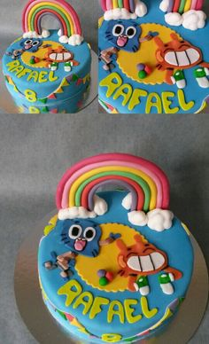 The amazing world of Gumball taart 8th Birthday, Birthday Cake, Birthday Parties, Cupcakes, Amazing Gumball, Water Party, World Of Gumball, Muffins, Celebration Cakes