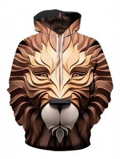 06bcea37631 Lion Head Print Pouch Pocket Hoodie - BROWN - M Cheap Hoodies