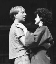 """Alan Rickman on stage in the """"Grass Widow"""" with Leslee Udwin (Ron Cook and Tracey Ulman not shown)1983"""