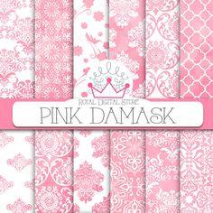 "Damask digital paper: ""PINK DAMASK"" with pink damask background, damask pattern, damask scrapbook paper, pink watercolor damask #watercolor #pink #damask #digitalpaper #scrapbookpaper"
