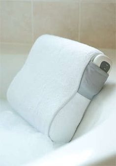 Fancy bath pillow for evening soaks.