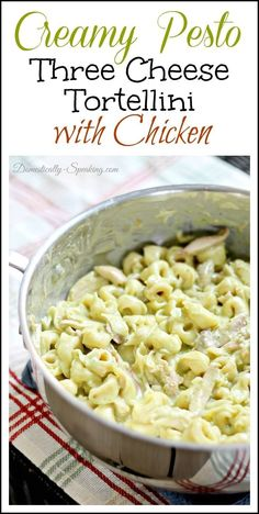 Creamy Pesto Three Cheese Tortellini with Chicken ~ Easy, takes less than 20 minutes and is delicious! (Four Cheese Tortellini) Chicken Tortellini, Cheese Tortellini, Pesto Chicken, Cheesy Chicken, Tortellini With Pesto, I Love Food, Good Food, Yummy Food, Pot Pasta