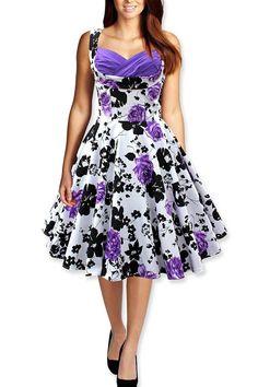 Tonval Women 50s Vintage Floral Swing Dress Audrey Hepburn Tunic Ruched Elegant Rockabilly Dresses Evening Party Sexy Vestidos