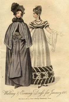 Walking and evening dress, 1818 United Kingdom
