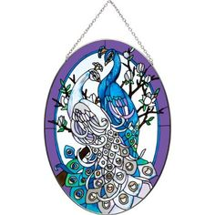 """White & Blue Peacock Stained Glass Suncatcher From Joan Baker 9"""" x 6.5"""" Peacock Collection http://www.amazon.com/dp/B005LVTYIW/ref=cm_sw_r_pi_dp_8vPZub0V2FZJE"""