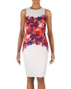 Watercolor Rose Scuba Sheath Dress