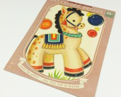Vintage Meyercord Decal - a Glow in the Dark Circus Horse Water Slide Transfer. Great for Nursery Decor  naturegirl22.etsy.com #natureswalkvintage