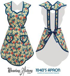 Vintage aprons, retro aprons, old fashioned aprons & apron sewing patterns. New vintage style aprons for women and kids inspired by the Apron Pattern Free, Vintage Apron Pattern, Aprons Vintage, Retro Apron Patterns, Vintage Purses, Vintage Hats, Dress Vintage, Crochet Patterns For Beginners, Sewing Projects For Beginners