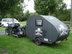 Would you like to go camping? If you would, you may be interested in turning your next camping adventure into a camping vacation. Camping vacations are fun Pull Behind Motorcycle Trailer, Motorcycle Campers, Motorcycle Travel, Ural Motorcycle, Camping And Hiking, Camping Gear, Rv Pictures, Small Travel Trailers, Side Car