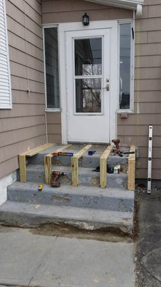 Home Remodeling & Repair NH Deck Over Concrete, Concrete Porch, Front Porch Steps, Front Stairs, Front Porch Makeover, Home Exterior Makeover, Repairing Concrete Steps, Outdoor Steps, Patio Steps