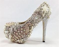 Embellished Gold and Silver Pump