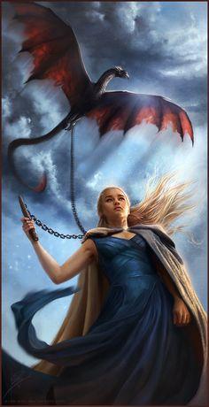 """...She has that Dragon on a CHAIN! O.O (Previous Pinner """"Mhysa by =Aida-Art on deviantART"""")"""