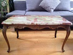 Table basse style Louis XV plateau marbre