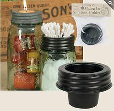 Farmhouse Cottage Primitive Country Mason Jar Sundries Cup Lid Holder | eBay
