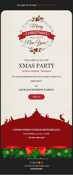 This Christmas Email Newsletter Template Features 2 Header Designs