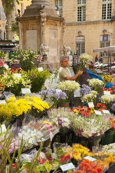 Photographic Print: Man Selling Flowers on Market Day in Aix-En-Provence, France by Brian Jannsen : Aix En Provence, La Provence France, Exotic Flowers, Beautiful Flowers, French Countryside, French Alps, Flower Market, Flower Shops, Oui Oui